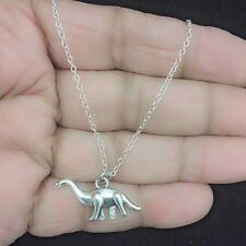 Beautiful Large Dinosaur Silver Charm Necklace.