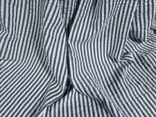 Indigo Blue White Striped Seersucker Apparel Fabric By The Yard Polyester 57