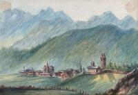 CELERINA LANDSCAPE NEAR PONTRESINA SWITZERLAND Antique Watercolour Painting 1909