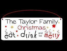 Personalised Welcome Family Name Christmas Plaque Metal Xmas Sign WEATHERPROOF