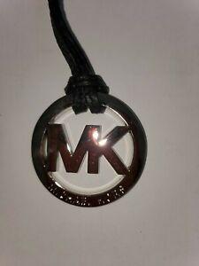 New Michael Kors Silver MK Logo Charm Hang Tag black Leather Strap