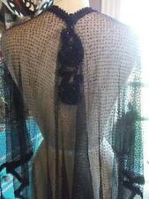 CHIC 1900's French Net Lace Shawl~ Opera Jacket Ornate Jet Beadwork Trim MINT LG