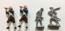 Lot of 4 Toy Soldiers American Revolution Colonial Metal & Plastic 1/32 Figure