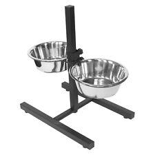 Altezza regolabile sollevato cane in acciaio inox Acqua Cibo Ciotole Stand Alimentatore Set