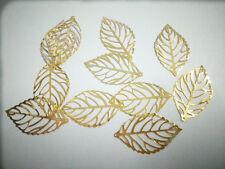 New 100 pcs Gold Filigree Hollow Leaves Warps Findings 4.4cm*2.5cm