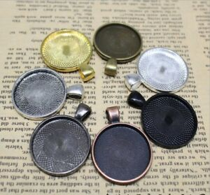 Multicolor Round Base Setting Trays, Necklace Pendant ,Fit 25mm Round Cabochon