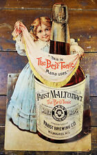PABST BEST TONIC MALT EXTRACT YOUNG GIRL ADV HEAVY GAUGE METAL ADVERTISING SIGN