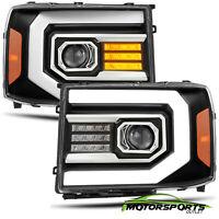 Fit 07-13 GMC sierra 1500/07-14 2500/3500HD Black Headlights w/LED DRL+Signal