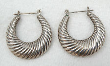 Vintage Artisan Sterling Silver Repoussé Scalloped Hoop Pierced Earrings