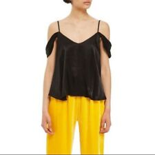 NWT Topshop Black Draped Satin Cold Shoulder Camisole Tank Top Blouse Size 2 NEW