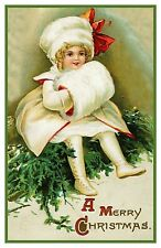 Victorian Christmas Scene # 604 Girl Holiday Outfit Counted Cross Stitch Pattern