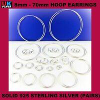 8-70mm SOLID 925 STERLING SILVER SLEEPER HOOP EARRINGS WOMEN RINGS SET BALL NOSE