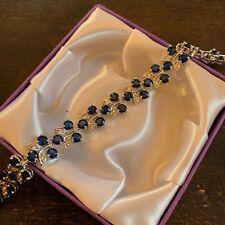 GB White gold bracelet blue sapphire & sim diamond 18cm x 1.3cm Plum UK BOXED