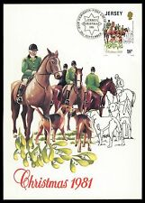JERSEY MK 1981 caccia DRAG Hunt Cavalli Cani horse cheval MAXIMUM CARD MC cm ce28