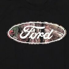 Realtree Ford Motor Mens Camouflage Black Graphic Tee Shirt X Large Cotton Crew