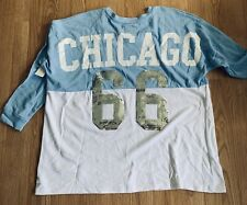 Chicago Bulls Ladies Plus Size 2X T-shirt Blue Metallic Silver Sequin #66 Defect