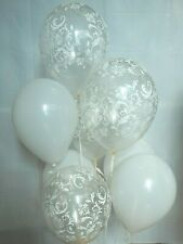 White Balloons,Clear Damask Latex Balloons, Birthday, Bridal Decorations Supply
