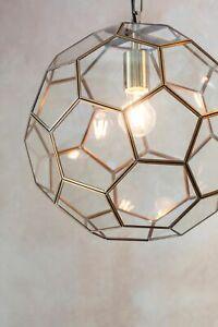 Zola Ceiling Light Pendant Antique Brass + Hexagon Glass Panels Dia: 37cm