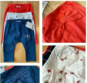 NEXT Baby Girls Leggings 3 Pack Red Navy White Pretty Strawberry Bows Cotton NEW