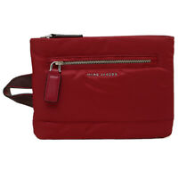 Marc Jacobs Mallorca Flat Red Nylon/Leather Slim Zip Cosmetic Travel Bag Pouch