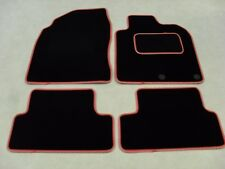 Nissan Qashqai (5 Seat)2010-on Tailored Deluxe Car Mats in Black-Red/Silver Trim