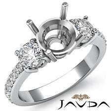 Diamond Engagement 3 Stone Elegant Round Semi Mount Ring 0.40Ct 18k White Gold