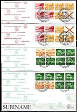 Suriname - 1978 Definitives airmail booklets - Mi. H-Blatt 3-6 clean FDC's