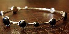 "Silver over Brass Slip-on Bangle w/ Onyx Stones 7"" Artisan Design Bracelet"