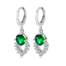 Fashion Lady Jewelry Heart Shaped Emerald Silver Diamond Stud Earrings Gift
