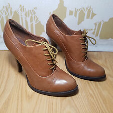 Aldo Women's Brown Leather Lace Up Booties Heel Shoe Size 39 US Size 9 Career
