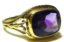 VICTORIAN 14K YELLOW GOLD SMOOTH AMETHYST WOMENS ESTATE FILIGREE RING SIZE 7.25