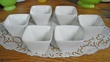 White Square Restaurant Sauce Dip Condiment Cups Bowls ~ Set of 6 NIB ~