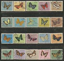 MOZAMBIQUE 1953 BUTTERFLIES AND MOTHS Sc#364-83 COMPLETE USED SET 1668