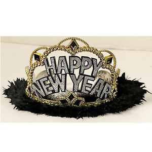 Happy New Year Black, Silver & Gold Marabou Tiara