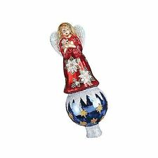 Old World Christmas Poinsettia Angel Tree Topper Glass Ornament