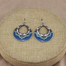 Women's Vintage Bohemian Boho Style Blue Glaze Waterdrop Hollow Dangle Earrings