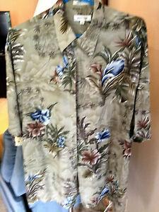 Pierre Cardin Mens Large Short Sleeve Palm Floral Hawaiian Beach Shirt