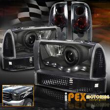 1999-2004 FORD F250 F350 Super-Duty Black LED Headlights+Signal+Smoke Tail Light