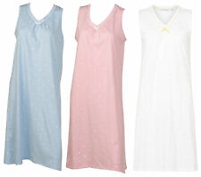 Nightdress 100% Cotton Dobby Dot Sleeveless Nightgown Womens Slenderella Nightie