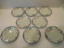 Lot of 8 Franciscan Twilight Rose Bread Plates USA pale green/blue trim VINTAGE