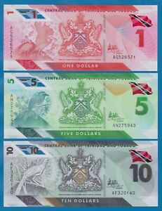Trinidad and Tobago 3 notes set 1 + 5 + 10 Dollars P New 2020 (2021) UNC Polymer