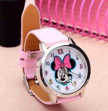 Reloj de pulsera niños Niñas Minnie Mouse Rosa Mickey analógico de Cuero Correa Delgado