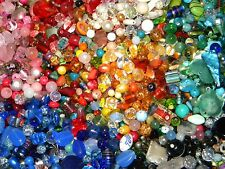 NEW 6/oz Multi-colored MIXED LOOSE BEADS LOT Gemstone, Glass NO JUNK (sl7)
