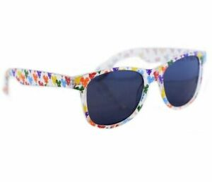 Disney Parks Mickey Colorful Balloons Clear Frame Sunglasses Wayfarer - NEW