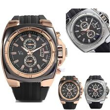 V6 Chunky Designer Men Stainless Steel Rose Gold Silicone Strap Band Wrist Watch