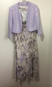 Jacques Vert Purple Lilac Floral Dress Silk Jacket Set Suit Outfit Wedding 14 16