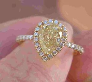 Natural Yellow Pear Shaped Solitaire Diamond Halo Ring 1.43 cttw 14K Yellow Gold