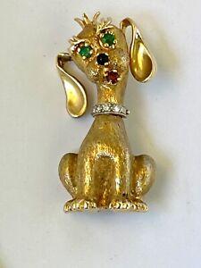 VINTAGE~DAN FRERE~14K GOLD DOG PIN~DIAMONDS~RUBY~EMERALD & SAPPHIRE~FABULOUS~