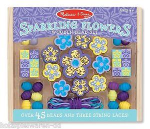 "Melissa & Doug 19494 Bead Set "" Sparkling Flowers "" Blue Wooden Box New! #"