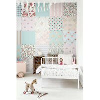 Patchwork Nursery Non-Woven wallpaper Wall mural Kids Baby room Vintage style